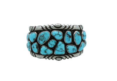 Load image into Gallery viewer, Wilford Nez, Bracelet, Candelaria Turquoise, Navajo Handmade, Circa 1980s, 6 7/8""
