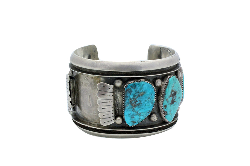Navajo Watch Bracelet, Morenci Turquoise, Unsigned, Big, Circa 1970s, 7
