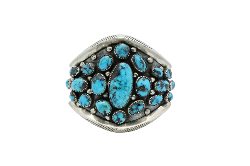 Navajo Bracelet, Cluster, Persian Turquoise, Sterling Silver, Circa 1980s, 6.75