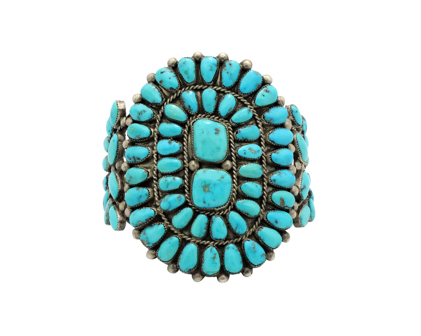 Navajo Bracelet, Cluster, Lone Mountain Turquoise, Natural, Circa 1960s, 7