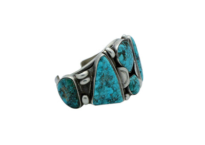 Load image into Gallery viewer, Navajo Bracelet, Morenci Turquoise, Unsigned, Six Stones, Circa 1960s, 6.5