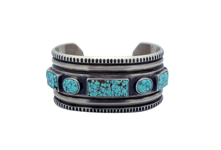 Harrison Jim, Bracelet, Number Eight Turquoise, Silver, Navajo Handmade, 6 3/4