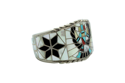 Load image into Gallery viewer, Ralph, Lillie, Kallestewa, Bracelet, Knifewing, Inlay, Zuni, Circa 1960s, 6 15/16""