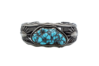 Load image into Gallery viewer, Navajo Bracelet, Unsigned, Kingman Turquoise Nugget, Heavy, Circa 1970s, 7.5