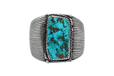 Load image into Gallery viewer, Navajo Bracelet, Morenci Turquoise, Large Stone, Stamping, Circa 1970s, 7 1/4""