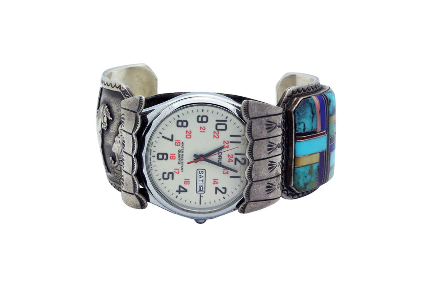 Robert Willie, Watch Bracelet, Storyteller, Inlay, Navajo, Circa 1990s, 7 1/2