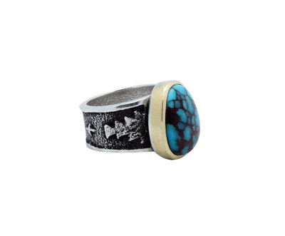 Load image into Gallery viewer, Kelsey Jimmie, Ring, Bisbee Turquoise, 14k Gold, Silver, Navajo Handmade, 7.5