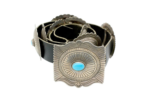 Navajo, Concho Belt, Signed JB Sr, Castle Dome Turquoise, Circa 1980s, 44