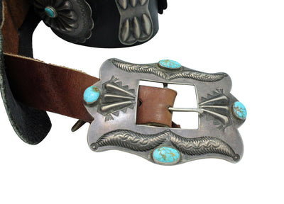 Load image into Gallery viewer, Navajo Concho Belt, Unsigned, Number Eight Turquoise, 14 Pcs, Circa 1950s, 47