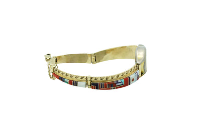 Load image into Gallery viewer, Julian Arviso, Watch Bracelet, 14k Gold, Multi Stone, Navajo Handmade, 7