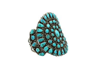 Load image into Gallery viewer, Navajo Bracelet, Cluster, Ithaca Peak Turquoise, Large Face, Circa 1970s, 7 3/4""