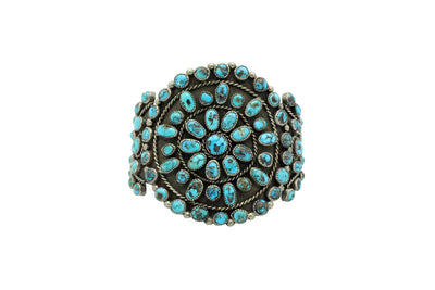 Load image into Gallery viewer, Navajo Bracelet, Cluster, Persian Turquoise, Unsigned, Circa 1960s, 6 7/8""