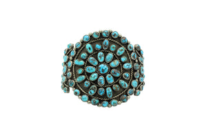 Navajo Bracelet, Cluster, Persian Turquoise, Unsigned, Circa 1960s, 6 7/8""