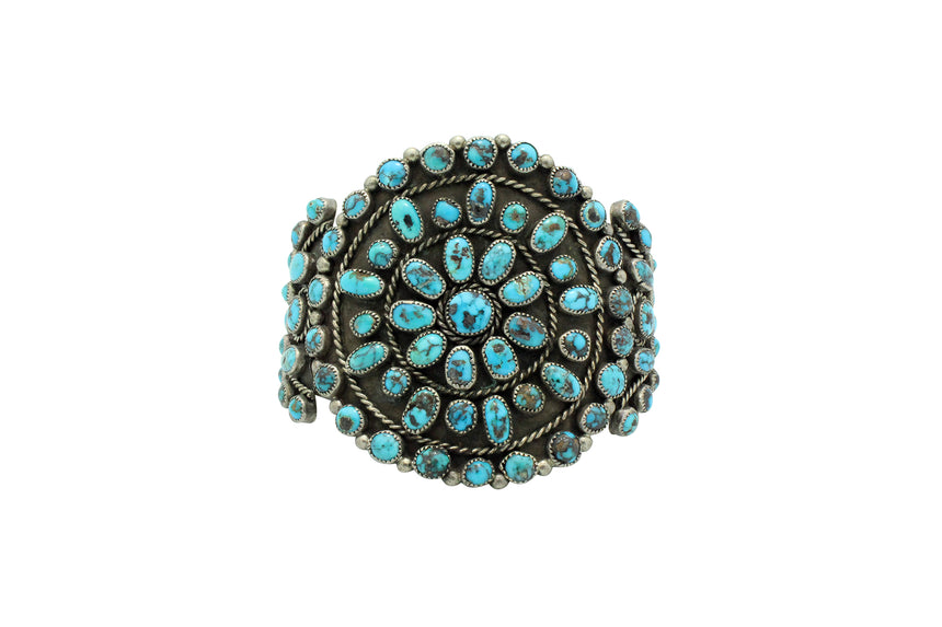 Navajo Bracelet, Cluster, Persian Turquoise, Unsigned, Circa 1960s, 6.75