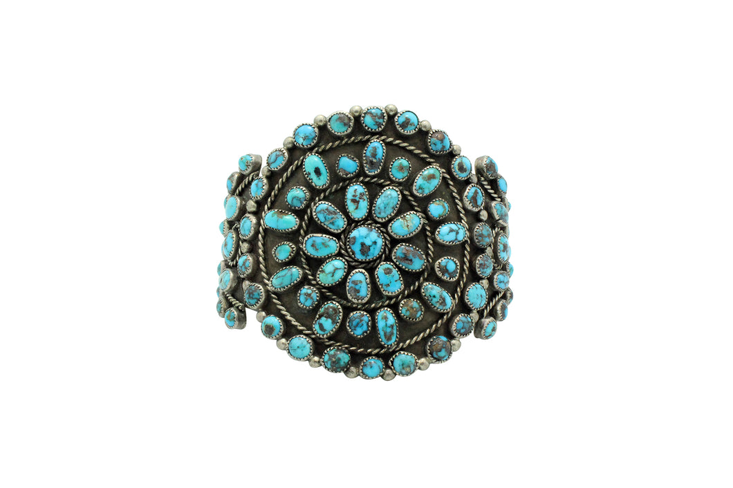 Navajo Bracelet, Cluster, Persian Turquoise, Unsigned, Circa 1960s, 6 7/8