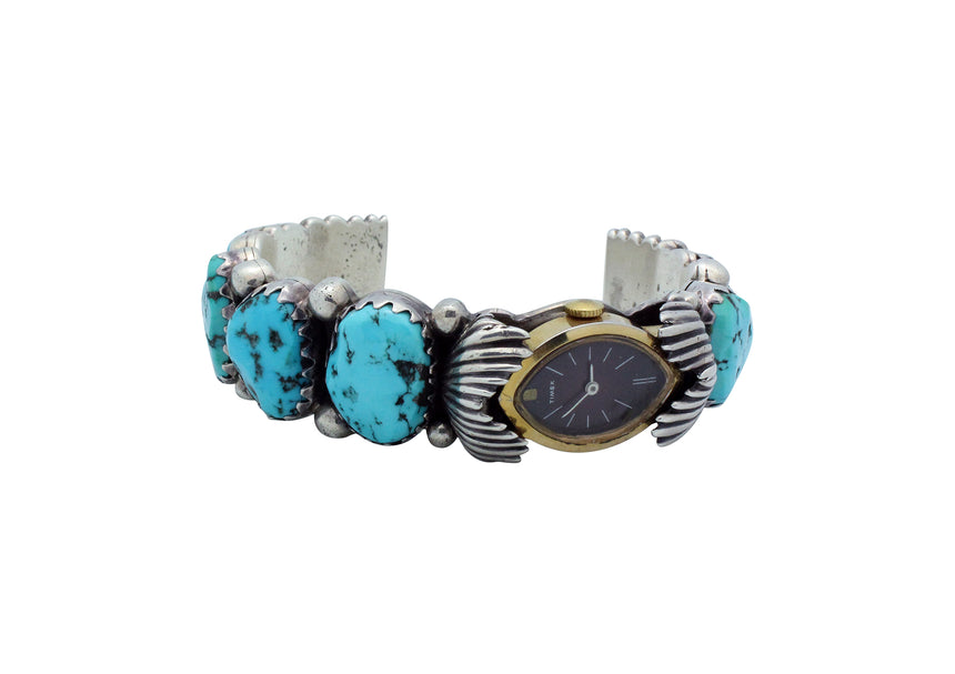 Harry H Begay, Watch Bracelet, Castle Dome Turquoise, Navajo, Circa 1980s, 7 1/16