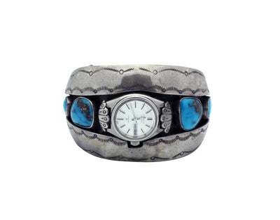 Load image into Gallery viewer, Navajo Watch Bracelet, Kingman Turquoise, Shadow Box, Circa 1970s, 7 3/8""