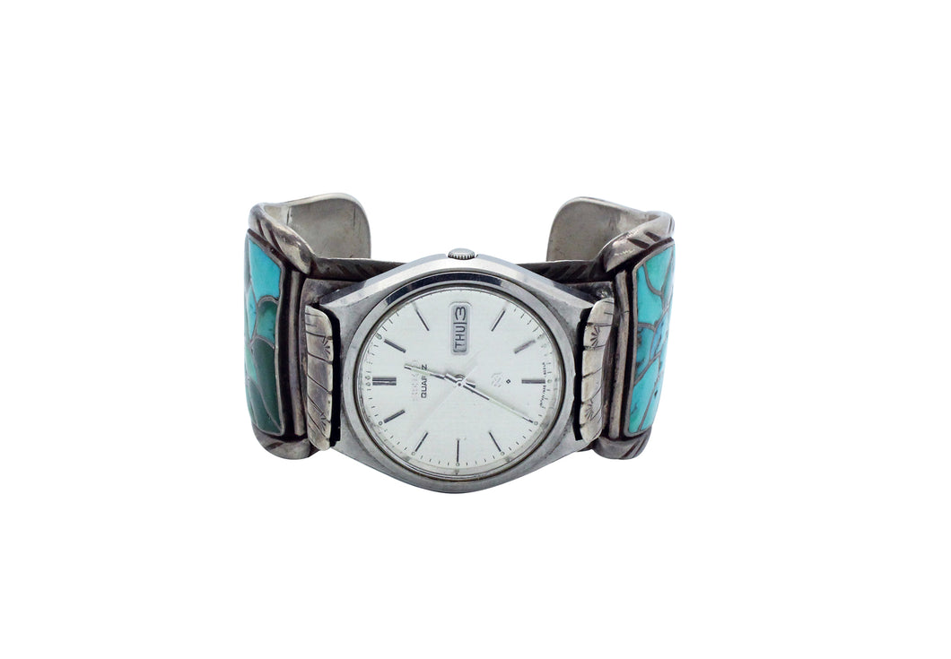 Zuni Watch Bracelet, Turquoise Inlay, Fish Scale Design, Circa 1970s, 7 1/16