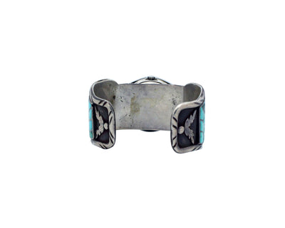 Load image into Gallery viewer, Zuni Watch Bracelet, Turquoise Inlay, Fish Scale Design, Circa 1970s, 7 1/16""