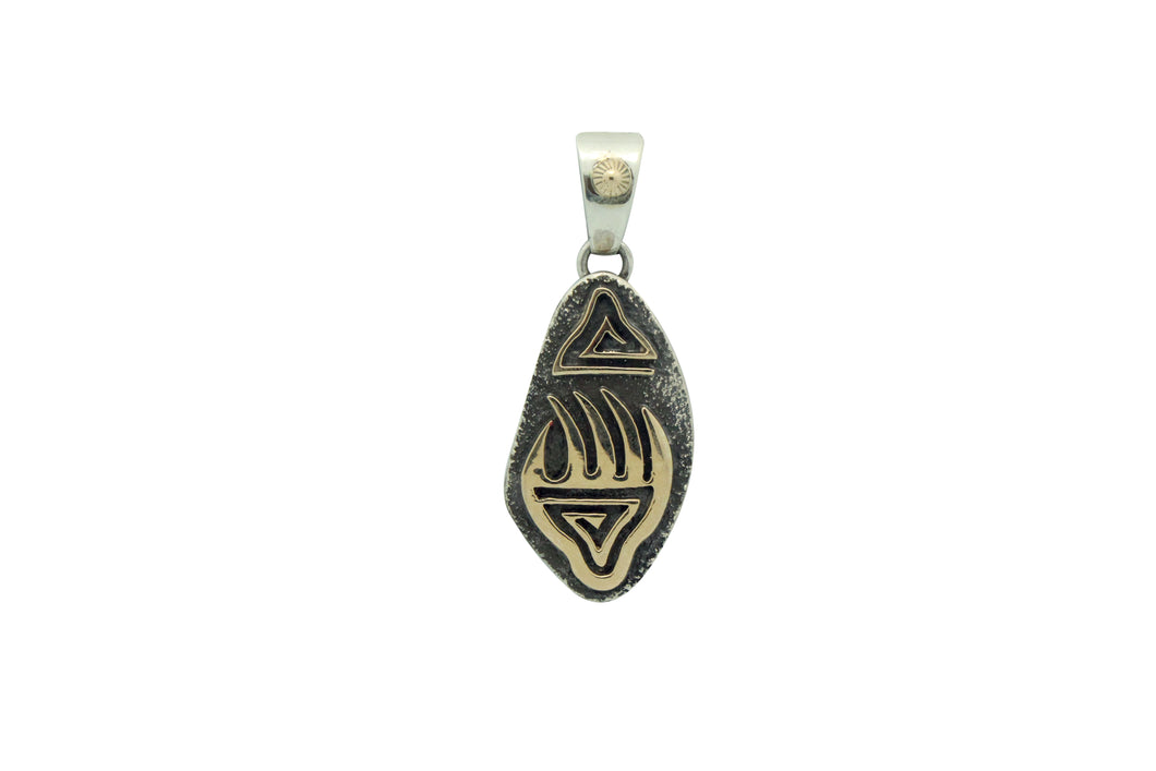Tommy Jackson, Pendant, 14k Gold, Sterling Silver, Bear Claw, Navajo Made, 2.5