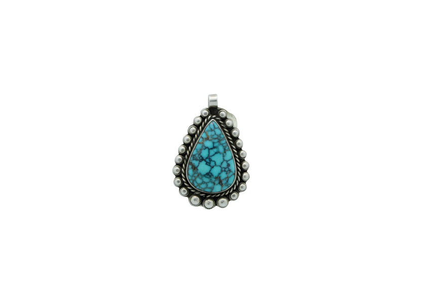 Navajo Handmade, Pendant, Number Eight Turquoise, Unsigned, Circa 1950s, 1.6