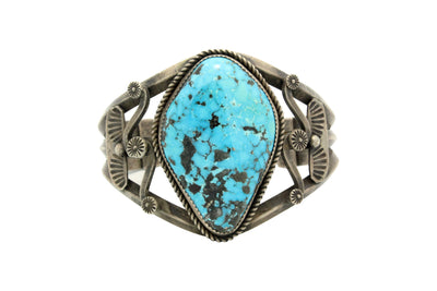 Load image into Gallery viewer, Navajo Bracelet, Unsigned, Ithaca Peak Turquoise, Old Style, Circa 1970s, 7.25