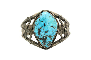 Navajo Bracelet, Unsigned, Ithaca Peak Turquoise, Old Style, Circa 1970s, 7 3/16""
