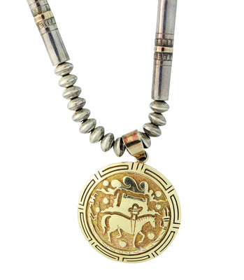 Load image into Gallery viewer, Robert Taylor, Jack Tom, Necklace, 14k Gold, Silver, Navajo, Circa 1990s, 22.25