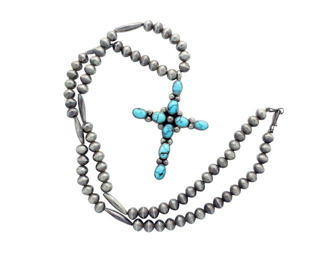Navajo Necklace, Persian Turquoise, Cross, Silver Beads, Circa 1970s, 29.5