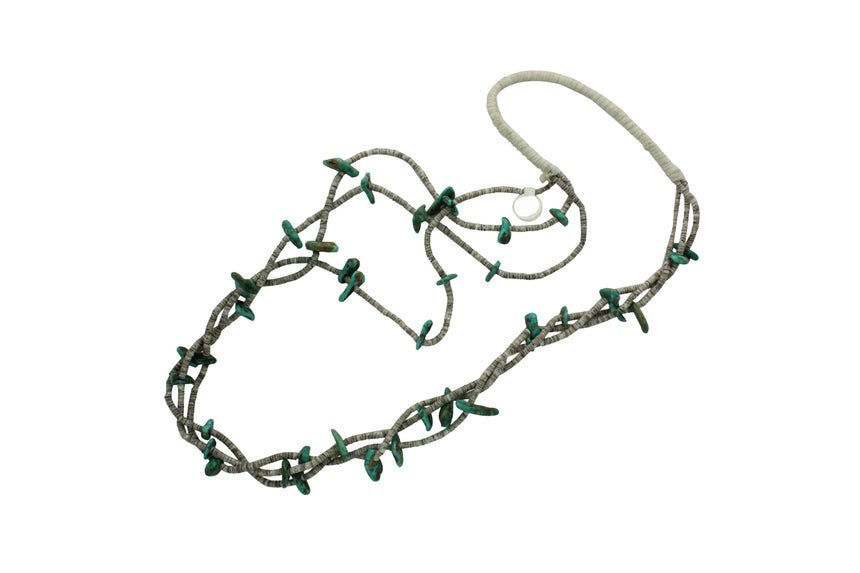 Nevada Turquoise, Heishe Necklace, 3 Strands, , Santo Domingo, Circa 1950s, 28