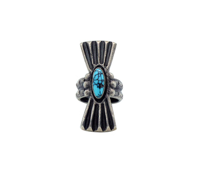 Load image into Gallery viewer, Monty Claw, Ring, Number Eight Turquoise, Tufa Cast, Navajo Handmade, 7.5