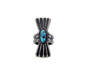 Monty Claw, Ring, Number Eight Turquoise, Tufa Cast, Navajo Handmade, 7.5