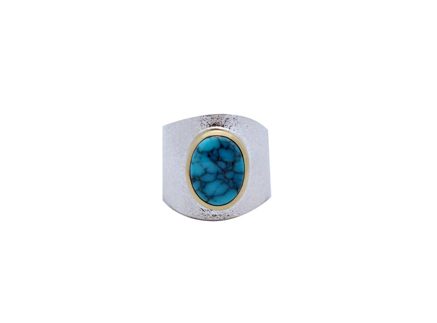 Darryl Dean Begay, Ring, Lone Mountain Turquoise, 18k, Silver, Navajo Made, 10