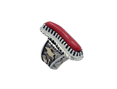 Load image into Gallery viewer, Arland Ben, Ring, Mediterranean Coral, 14k, Silver, Rock Art, Navajo Made, 9