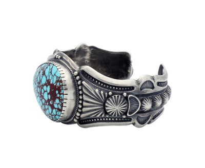Load image into Gallery viewer, Harry H Begay, Bracelet, Egyptian Turquoise, Silver, Navajo Handmade, 7 1/8""