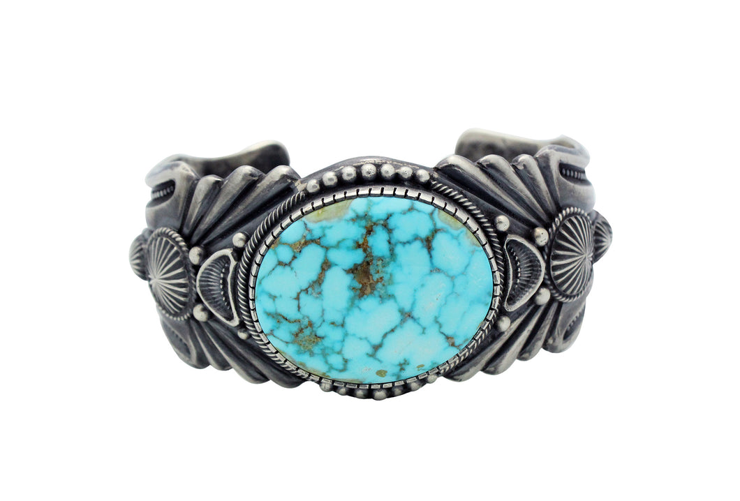 Harry H Begay, Bracelet, Turquoise Mountain, Ingot, Silver, Navajo Made, 7 1/2