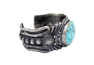 Load image into Gallery viewer, Harry H Begay, Bracelet, Turquoise Mountain, Ingot, Silver, Navajo Made, 7 1/2""