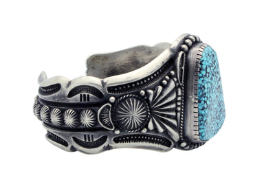 Load image into Gallery viewer, Harry H Begay, Bracelet, Kingman Black Web Turquoise, Navajo Handmade, 7 1/4""