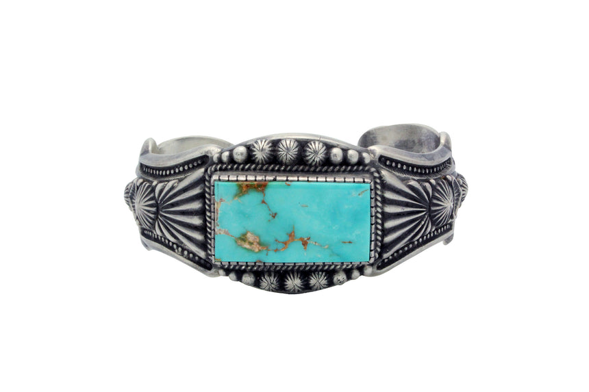 Harry H Begay, Bracelet, Royal Blue Royston Turquoise, Navajo Handmade, 7 3/8