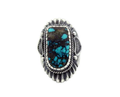 Harry H Begay, Ring, Tyrone Turquoise, Ingot, Silver, Navajo Handmade, 9.5