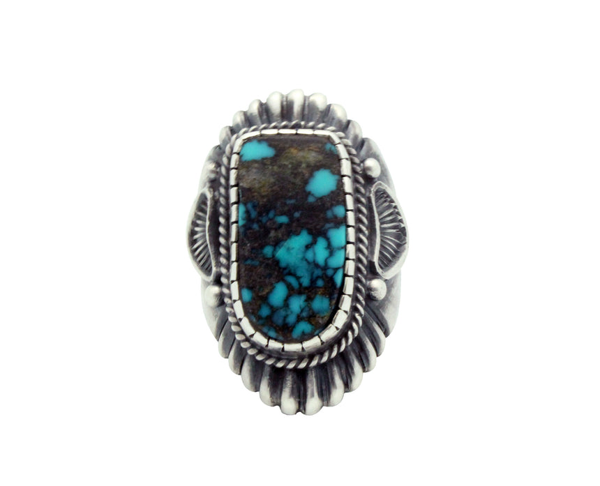 Harry H Begay, Ring, Tyrone Turquoise, Ingot, Silver, Navajo Handmade, 9 1/2