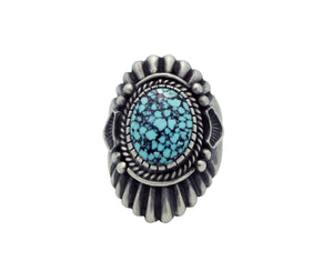 Harry H Begay, Ring, Black Web Kingman Turquoise, Ingot, Navajo Handmade, 9