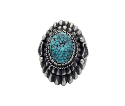 Harry H Begay, Ring, Spider Web Kingman Turquoise, Ingot, Navajo Handmade, 9