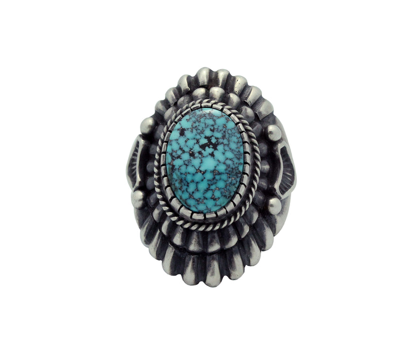 Harry H Begay, Ring, Spider Web Kingman Turquoise, Ingot, Navajo Handmade, 10