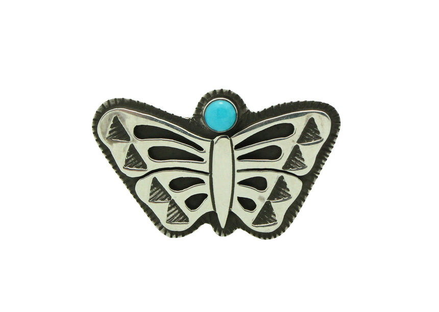 Aaron John, Ring, Turquoise, Butterfly, Silver, Navajo Made, Adjustable