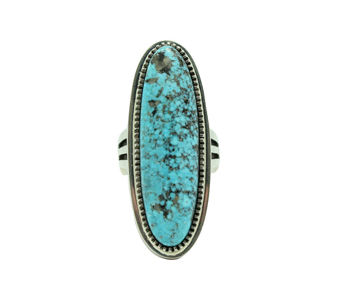Floyd Parkhurst, Ring, Contemporary, Kingman Turquoise, Coral, Navajo Made, 12.5