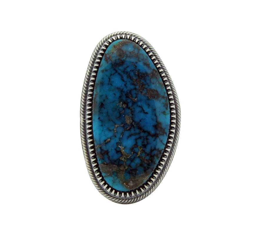 Floyd Parkhurst, Ring, Heavy Silver, Kingman Turquoise, Navajo Made, Adjustable