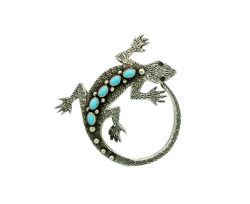 Lee Charley, Pin, Pendant, Lizard, Sleeping Beauty Turquoise, Navajo Made, 2.25