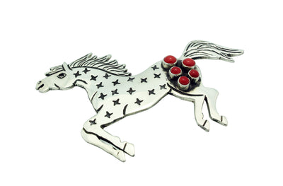 Load image into Gallery viewer, Lee Charley, Pin, Horse, Mediterranean Coral, Silver, Navajo Handmade, 2.75""