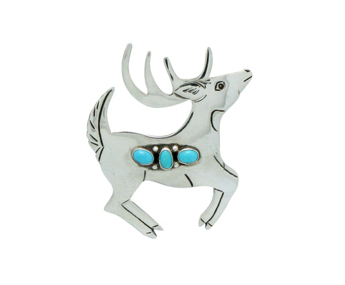 Lee Charley, Pin, Deer, Sleeping Beauty Turquoise, Navajo Handmade, 2.25